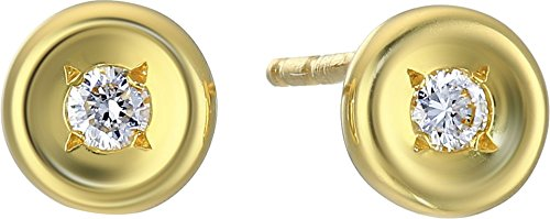Roberto Coin Women's Tiny Treasures 18K Earrings with Diamonds Yellow Gold One Size (Coin Ounce Gold 0.1)
