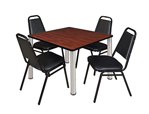 "Kee 42"" Square Breakroom Table- Cherry/ Chrome & 4 Restaurant Stack Chairs- Black"