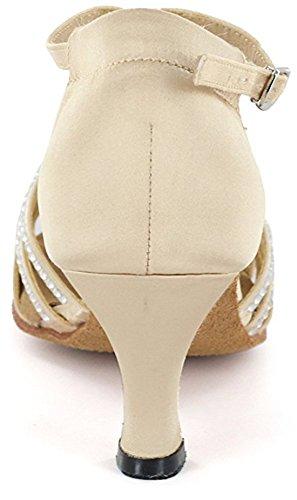 Tda Donna T-strap Peep Toe Tacchi Alti Cristalli Raso Latino Moderno Salsa Tango Sala Da Ballo Scarpe Da Ballo Di Nozze 6 Cm Tacco Beige