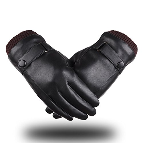 LAOWWO Men&Women Winter Warm Full-hand Touchscreen PU Leather Gloves for Driving (Black01) (Winter For Gloves Hand)