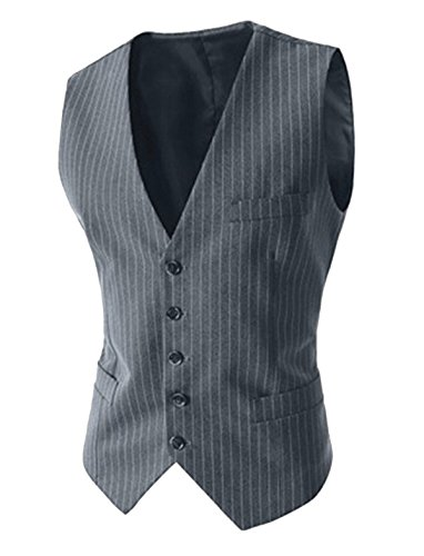 Evaliana Men's Pinstripe Formal Suit Vest Waistcoat  Grey  Medium