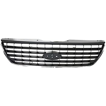 CarPartsDepot 363-18126-10 FO1036107 1L2Z17K945AAA New Front Bumper Center Grill Grille New Raw Black Plastic Assembly