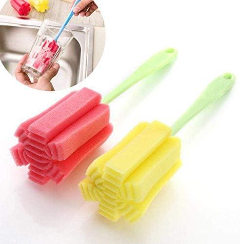 WOHAO Reinigungskit Küchenreinigungswerkzeug Sponge Pinsel for Weinglas Flasche Coffe Tee-Glas, Blau, 23 x 6 x 6 (Color : Blue, Size : 23 X 6 X 6)