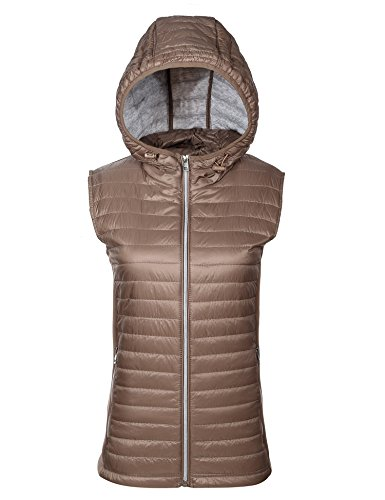 (Bellivera Women's Stand Collar Lightweight Gilet Quilted Puffer Padded Zip Vest Hood Jacket)