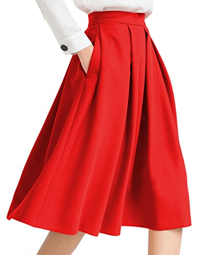 Yige Women's High Waisted A line Skirt Skater Pleated Full Midi Skirt Red ()