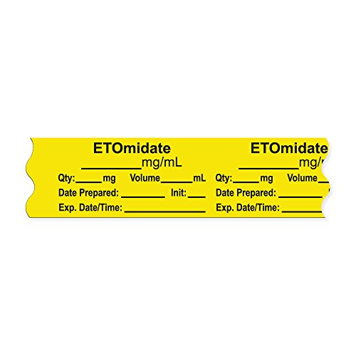 PDC Healthcare AN-2-51 Anesthesia Tape with Exp. Date, Time, and Initial, Removable, ''ETOmidate mg/mL'', 1'' Core, 3/4'' x 500'', 333 Imprints, 500 Inches per Roll, Yellow (Pack of 500) by PDC Healthcare