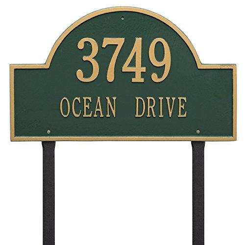 Arch Marker Estate Address Plaques - Whitehall Products Arch Marker Estate Lawn 2-Line Address Plaque - Bronze/Gold