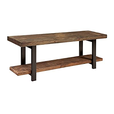 "Alaterre Sonoma Reclaimed Wood Bench with Open Shelf, Natural, Brown - - Dimensions: 48"" W x 14"" D x 18"" H; shelf: 32. 25"" W x 8. 75""; Space between top and bottom shelf is 11. 75"" H Bench has one bottom shelf for storing shoes/accessories Neat, efficient, versatile, and sturdy, this Bench is crafted to fit any lifestyle. - entryway-furniture-decor, entryway-laundry-room, benches - 41sP5wz0PLL. SS400  -"