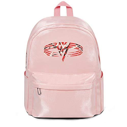 Womens Girl Boys College Bookbag Fashion Nylon Lightweight Travel Daypack Backpack Van-Halen- Bag Purse Pink