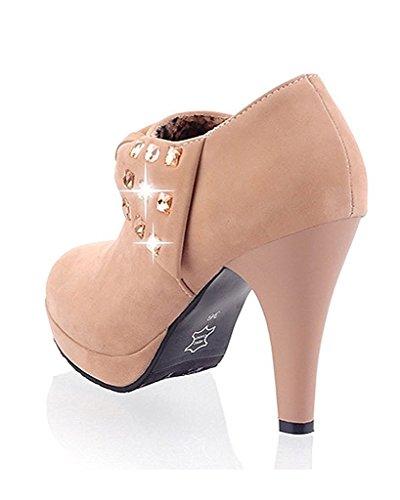 Minetom Damen Klassisch Vintage Schuhe Pumps High Heels Ankle Boots Brautschuhe Party mit Schleife Strass Khaki