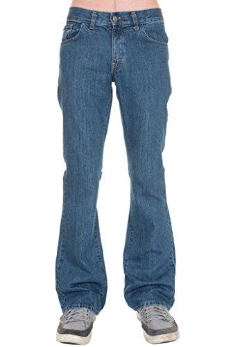 Mens Run & Fly 60's 70's Retro Vintage Stonewash Denim Boot Cut Flares 32 Short - Mens Flare Jeans