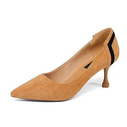 HWF Chaussures femme Chaussures À Talons Hauts De Travail De Printemps Mi-talon Banlieue Femmes Pointues Fins Simples Noir ( Couleur : Noir , taille : 35 ) Camel Color