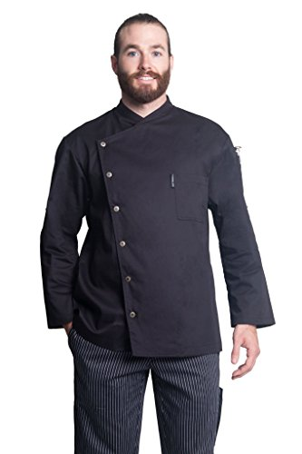 Bragard Arizona Convertible Long Sleeve Snap Buttons Chef Jacket Poly Cotton - Black | Sizes 42/44 US | by Bragard