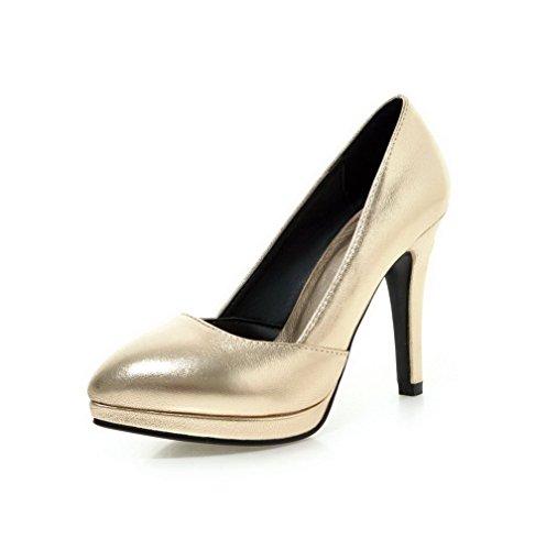 Tire Haut À Légeres Couleur Cuir Agoolar Femme Doré Talon Pu Unie Pointu Chaussures WxURWTS4z
