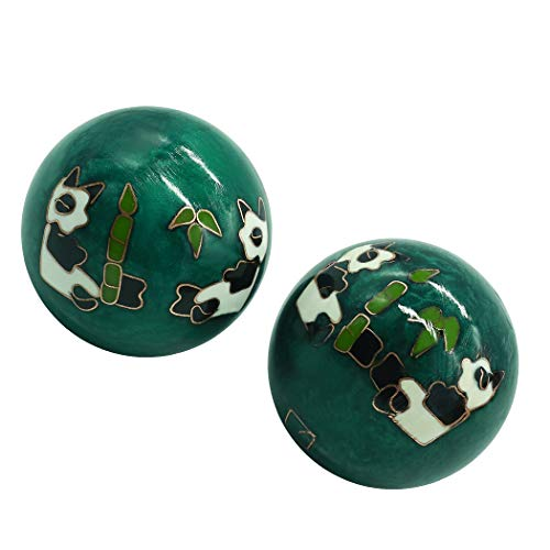 - 1.5'' Cloisonne Health Hand Balls Carved Panda Pattern Exercise Stress Balls Craft Collection BS153(S, green)