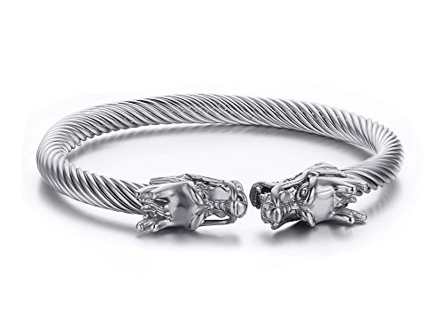 MPRAINBOW Men's Stainless Steel Dragon Head Twisted Cable Wire Viking Cuff Bangle Bracelet Silver