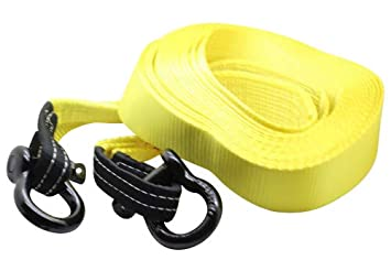 39.37ft DiversityWrap 13.5T Tow Strap Heavy Duty Tow Rope Towing Pull Strap Recovery Winch 4x4 Offroad With 2x Shackles Yellow 12m