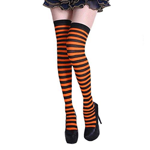Colorful Stripe Long Knit Socks Women's Striped Socks Over the Knee for Halloween Cosplay Christmas Costume (black&orange) ()