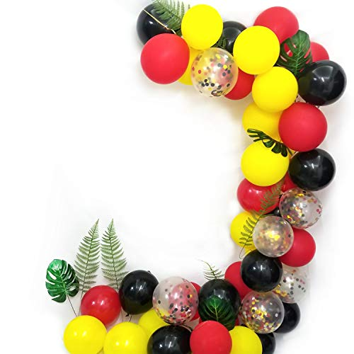 (Funin Black Red Yellow Latex Balloons and Confetti Balloons,for Mickey Mouse Party Decoration )