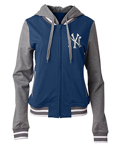 5th & Ocean New York Yankees Women's French Terry Sequin Logo Zip Up Hoodie X-Small