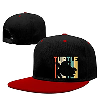 Unisex Retro Style Turtle Silhouette Hip-Hop Flatbrim Snapback Caps Contrast Color Baseball Caps for Women