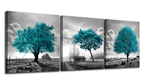 Canvas Wall Art for Bedroom Black and White Farmhouse Rustic Country Landscape Teal Trees Picture Wall Decor Modern Framed Artwork 3 Pieces Wall Decoration for Dining Room Kitchen Bathroom Office Home (White Ideas Dining And Room Black)