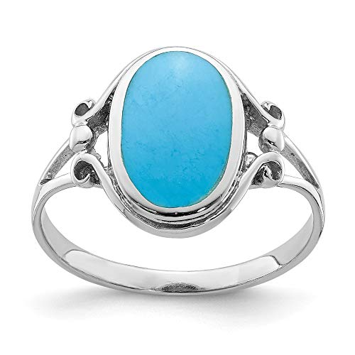 (925 Sterling Silver Synthetic Blue Turquoise Band Ring Size 6.00 Fine Jewelry Gifts For Women For Her)