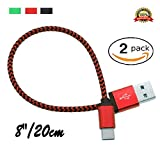 2PCS Short Type C to USB Charging Cable 20cm/8inch Nylon Braided Aluminum Head Connector to Charger and Sync, Durable, Heavy Duty Strong Cord Samsung S8/S8+/S8 Plus Apple New Macbook, LG, HTC (Red)