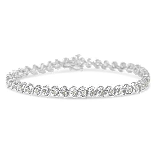 - Original Classics Sterling Silver Rose-Cut Diamond S-Link Tennis Bracelet (1 cttw, I-J Color, I3 Clarity)