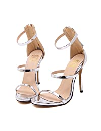 PromLady Womens Ankle Strap Cut Out Dress Sandals Pump Stiletto High Heel Shoes