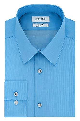 Calvin Klein Men's Dress Shirts Non Iron Slim Fit Solid, Opal, 16