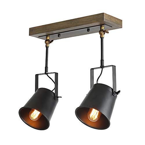 LNC Wood Close to Ceiling Spotlights 2 Track Lighting, A03186