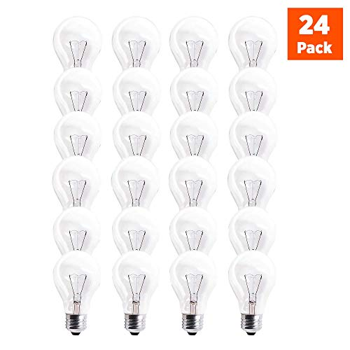 Incandescent Rough - GoodBulb 60 Watt Light Bulbs, Dimmable A19 Bulb with E26 Base, Rough Service Bulb, Clear Energy-Efficient Incandescent Bulbs, 525 Lumens, 130 Volts, for Various Light Fixtures (24 Pack)