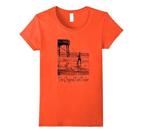 Womens Father's Day Fishing Shirt The Original Fish Finder Large - Orange Shop Finder