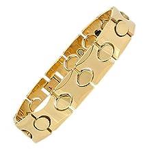 8 Inch Mens Tungsten Carbide 14K Gold IP Healthy Magnetic Oval Bracelet