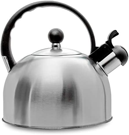 2.5 Liter Whistling Tea Kettle – Modern Stainless Steel Whistling Tea Pot for Stovetop with Cool Grip Ergonomic Handle – Stainless Steel