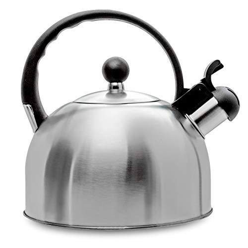2.5 Liter Whistling Tea Kettle - Modern Stainless Steel Whistling Tea Pot for Stovetop with Cool Grip Ergonomic Handle - Stainless Steel