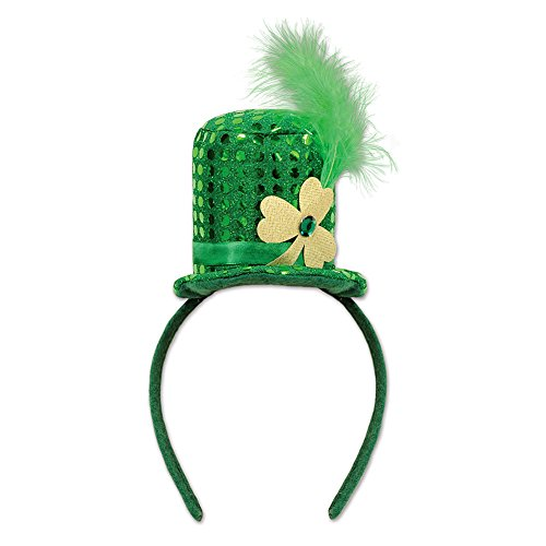 Mini Leprechan Green Sequined Top Hat Headband w/ Feather Plume -