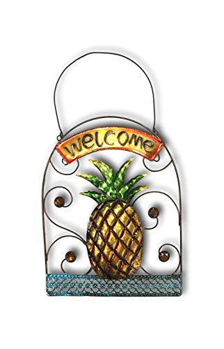 Plum Nellie's Treasures Metal Garden Sign - Hanging Jeweled Welcome Sign 13.5