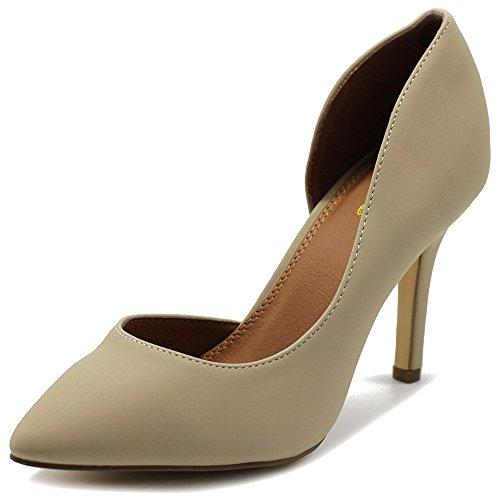 (Ollio Womens Shoes Fashion Faux-Suede Dress High Heels D'Orsay Pumps SSH02(9 B(M) US, Beige))
