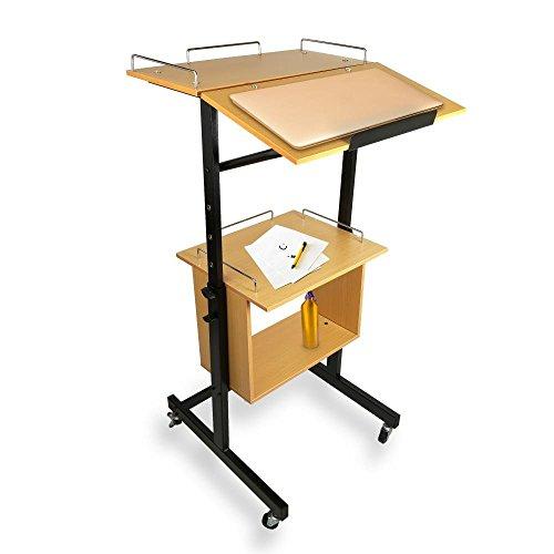 Pyle Portable Wheeled Lectern Podium Stand - 2-Tier Height Adjustable Standing Teacher Speaker Mobile Presentation Cart, Laptop Holder w/Storage Shelf, Rolling Wheels, Steel Metal Frame - PLAVCRTLC46
