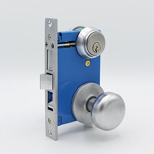 (Kenaurd Gate Lock W/ Knob, Double Sided Mortise Cylinder, Satin Chrome Finish (US26D), 2-1/2