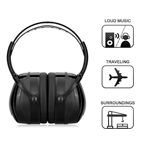 Noise Reduction Ear Muffs Noise Cancelling Hunting Shooting Ear Hearing Protection Earphone Headphone for Kids NRR 25DB/SNR 29DB (Black)