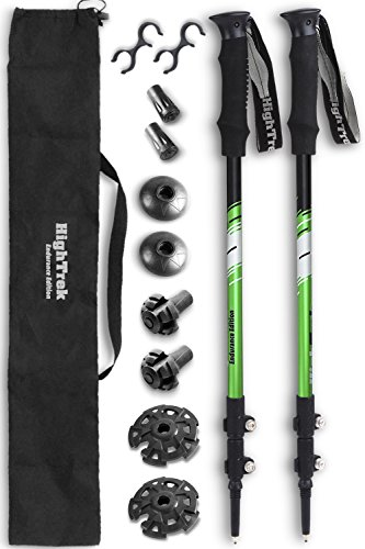 High Trek Hiking Poles [ 2 Pack ] Trekking/Walking/Climbing - 100% Tungsten Carbide Tips, Ultralight, Adjustable Height, Anti-Shock, Green (Ski Tip Lock)