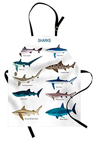 Ambesonne Shark Apron, Types of Sharks Pattern Whaler Piked Dogfish Whlae Shark Maritime Design Nautical, Unisex Kitchen Bib with Adjustable Neck for Cooking Gardening, Adult Size, Blue Tan
