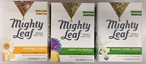 Mighty Leaf Tea Variety Pack (Pack of 3) 1-Mighty Leaf Tea Chamomile Citrus, 1-Mighty Leaf Tea Green Tea Tropical, 1-Mighty Leaf Tea Organic Spring Jasmine
