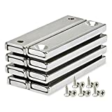 Rectangular Pot Magnets Neodymium Bar Magnet Counter Bore Countersunk Hole with Mounting Screws for Kitchen,Garage,Home,Office, 60x13.5x5mm Pack of 8