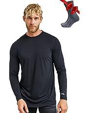 Merino.tech Merino Wool Base Layer - Mens 100% Merino Wool Long Sleeve Thermal Shirts Lightweight, Midweight, Heavyweight