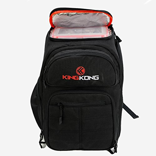 King Kong Fuel Meal Prep Backpack - Insulated Thermal Polyester Lunch Bag, Military Spec Nylon with Two Reusable Ice Packs - Black by King Kong (Image #1)
