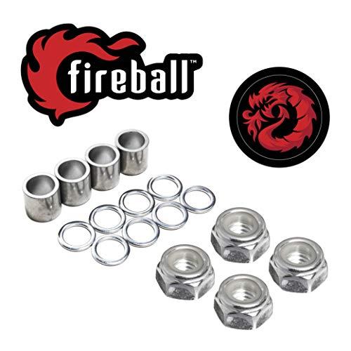 Fireball Dragon Precision Truck Hardware for Skateboard & Longboards (Speed Kit (4 x Axle Nut, 8 x Speed Rings, 4 x Spacers)) (Speed Skateboard)